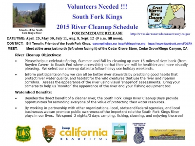 Volunteers Needed for 2015 Kings River Cleanup Days